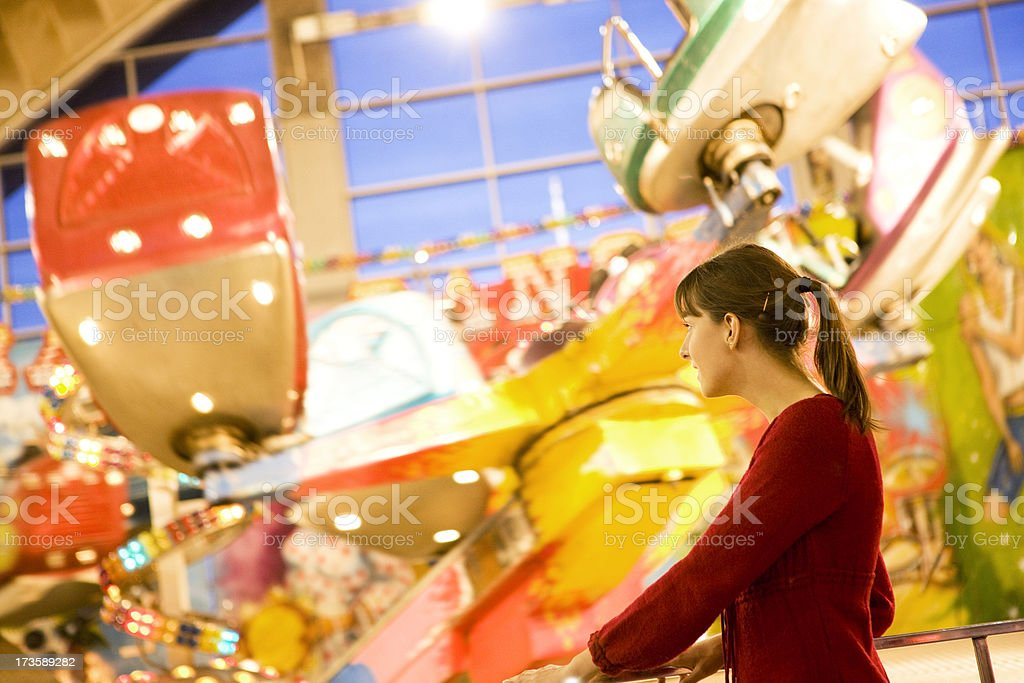 Woman at amusement park royalty-free stock photo