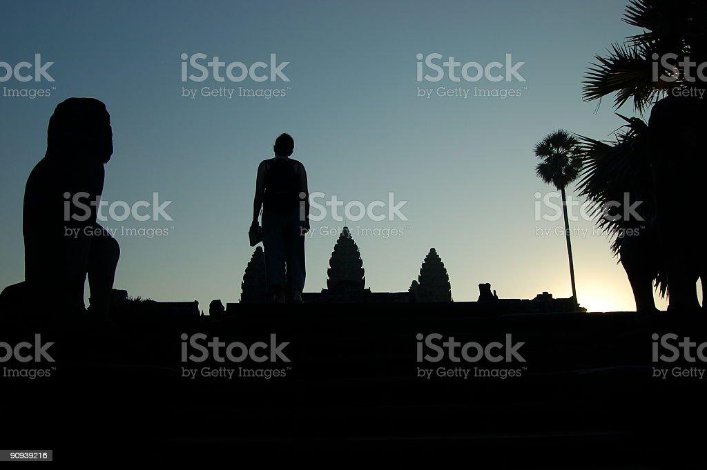 Woman at Angkor Watt Temple, Cambodia royalty-free stock photo