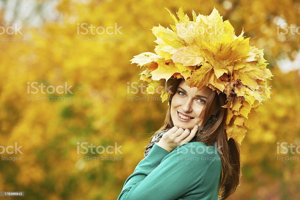Woman at autumn outdoors royalty-free stock photo