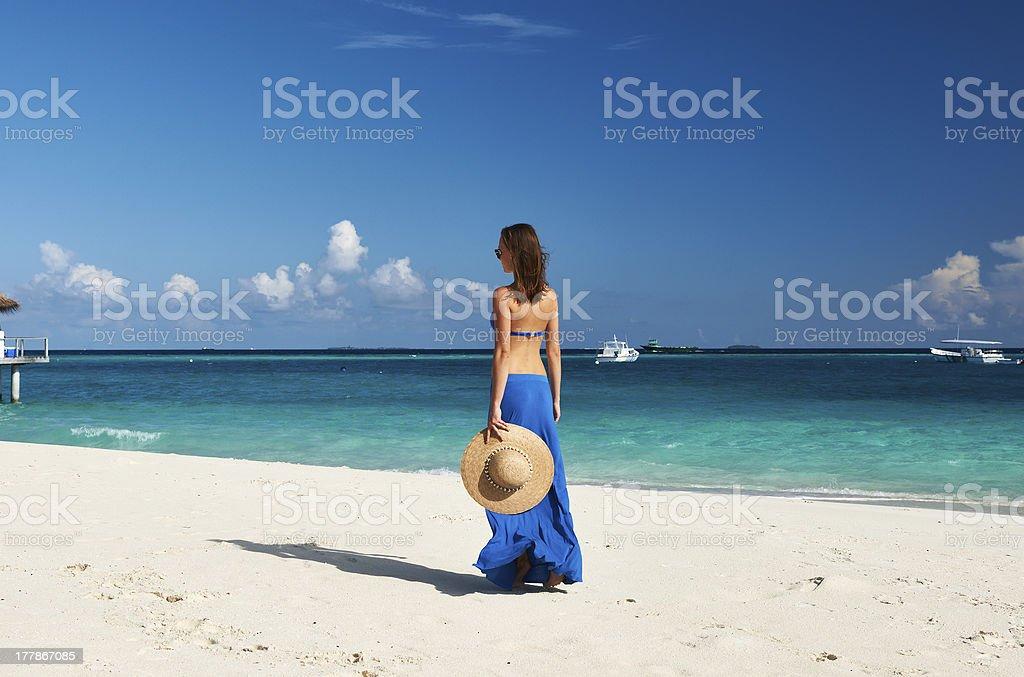 Woman at beach royalty-free stock photo