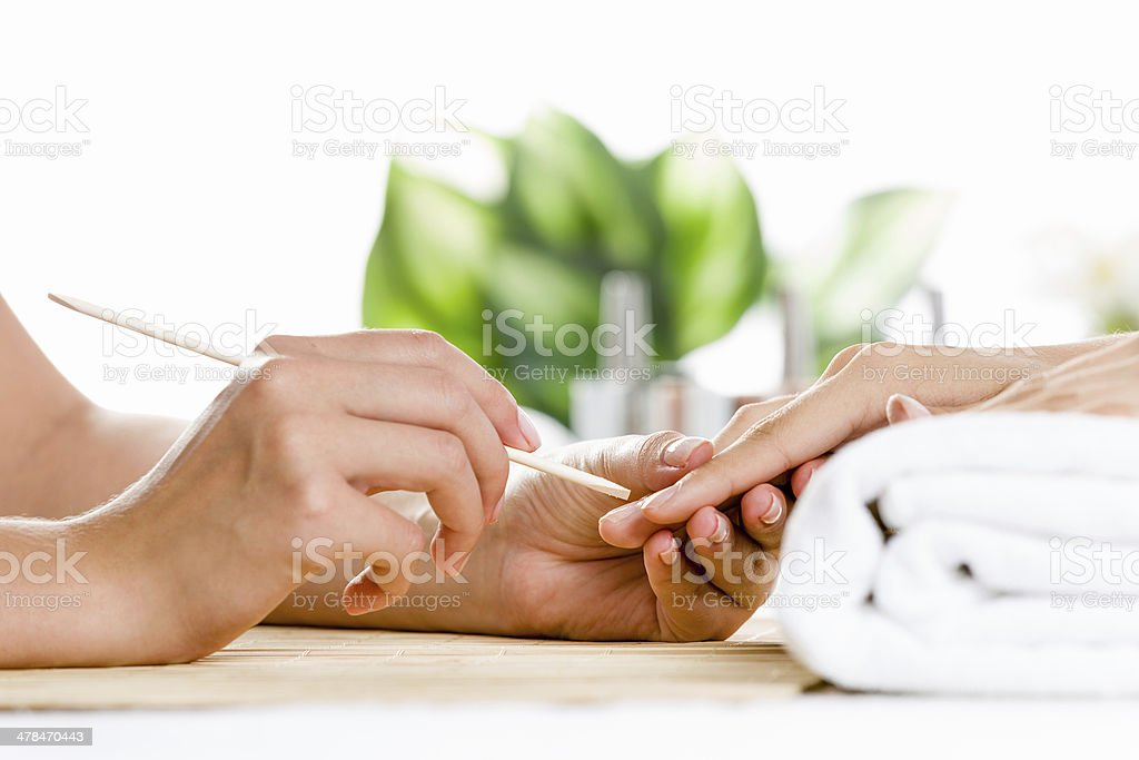 Woman at beauty salon stock photo