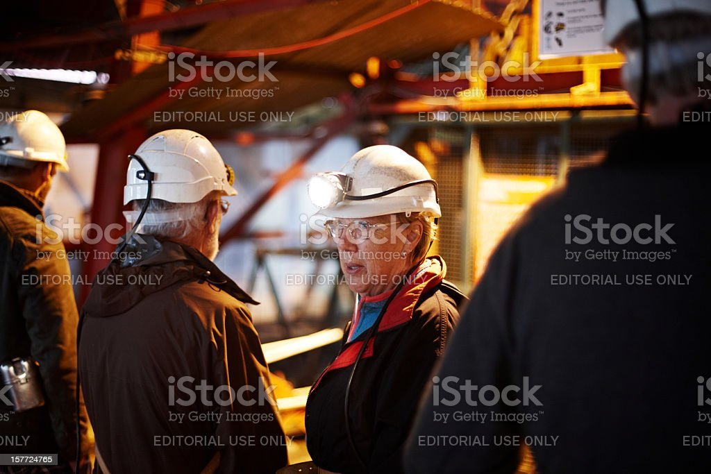 Woman at Big Pit colliery in Blaenavon stock photo