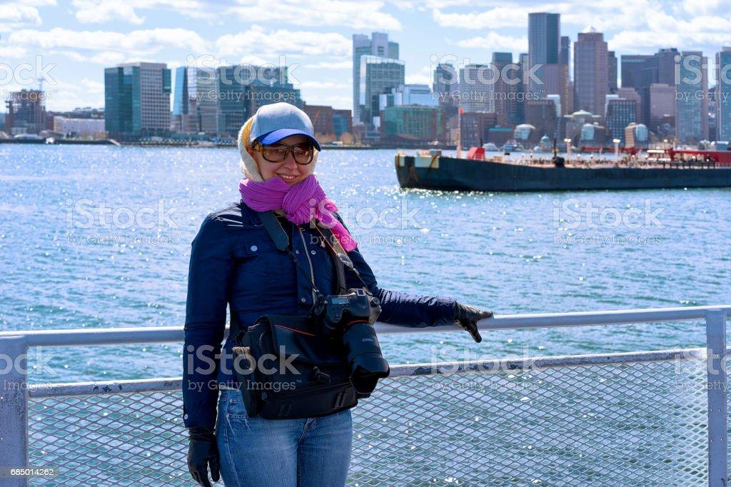 Woman at Boston waterfront MA stock photo