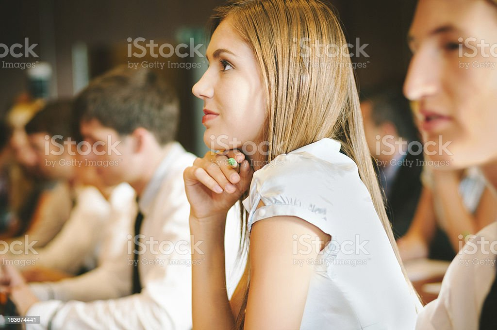 Woman at Business Conference royalty-free stock photo
