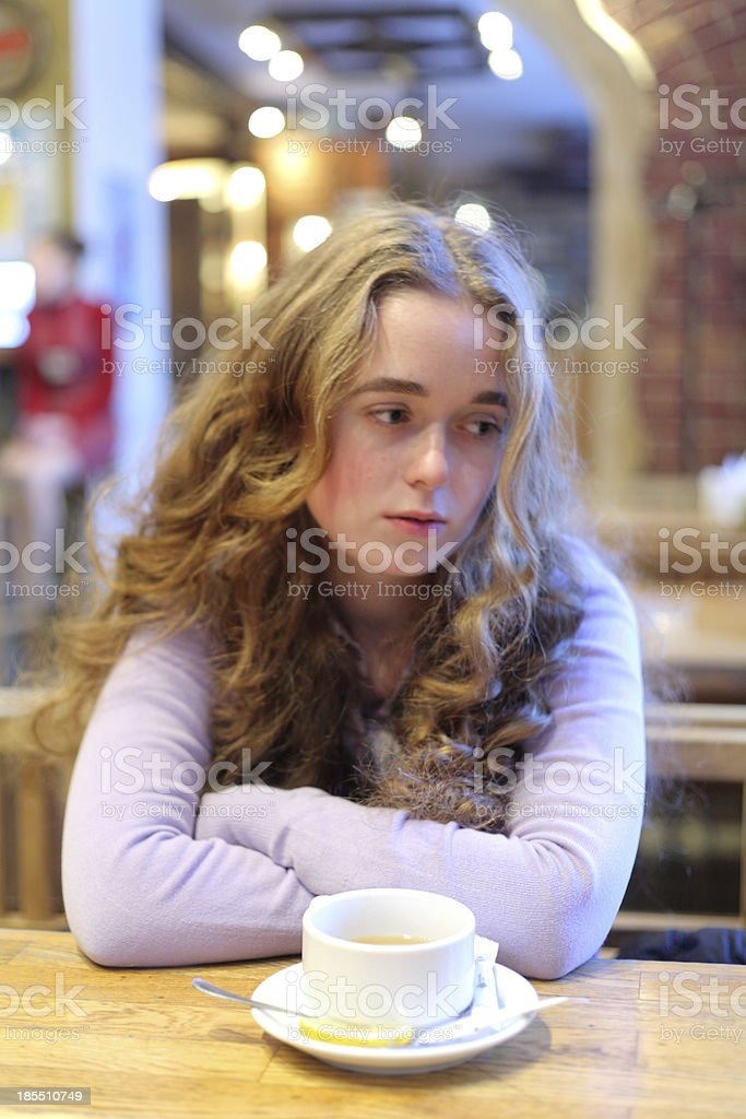 Woman At Cafe royalty-free stock photo