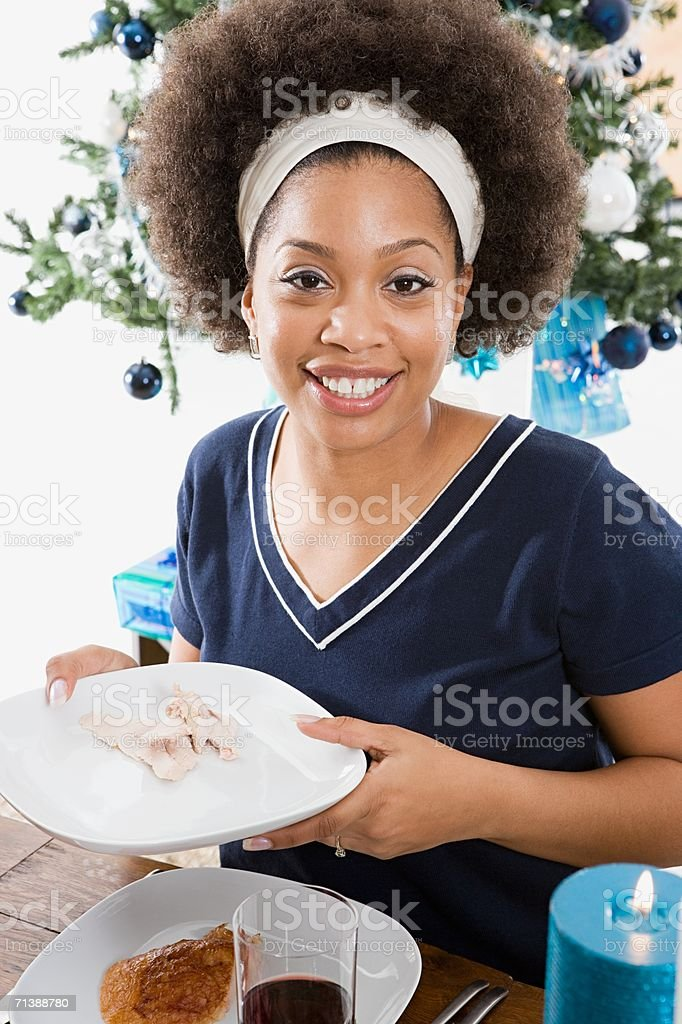 Woman at Christmas dinner royalty-free stock photo