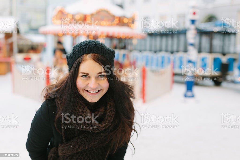 Woman at Christmas Market stock photo