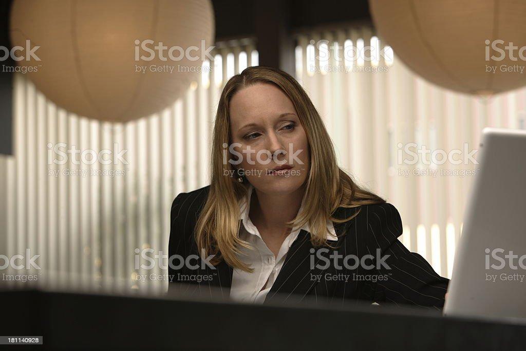 Woman at computer 01 stock photo