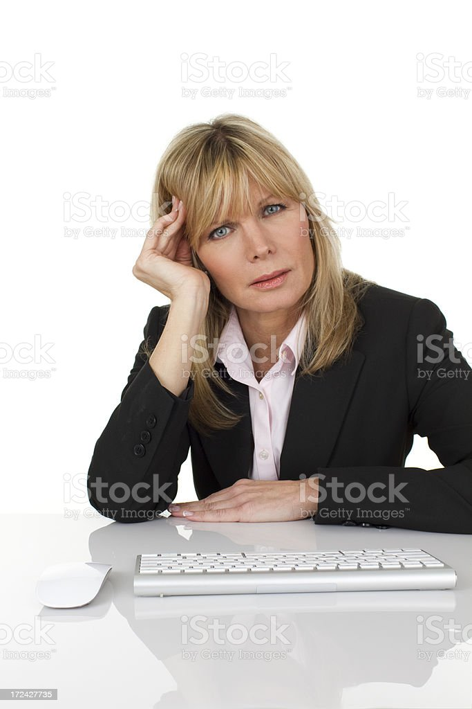 woman at computer royalty-free stock photo