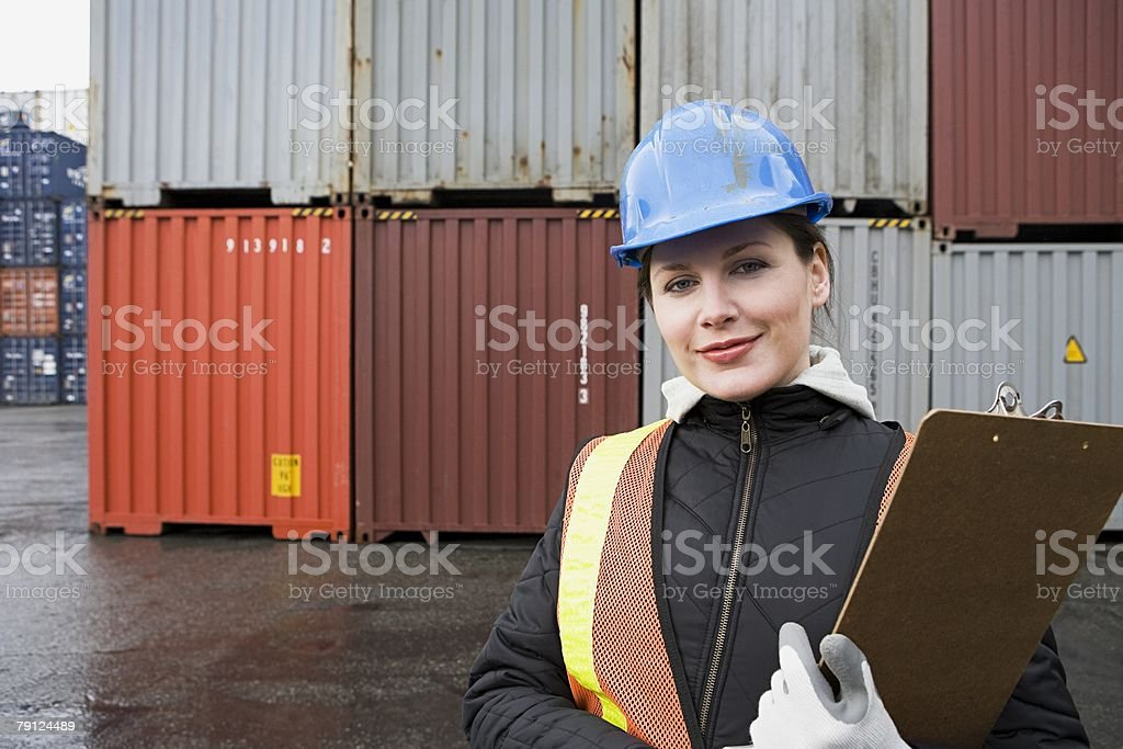 Woman at container terminal royalty-free stock photo