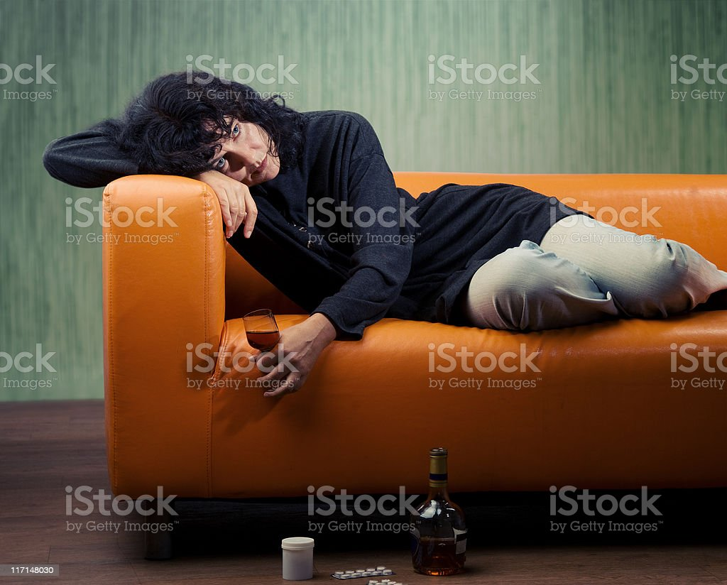 Woman at depression royalty-free stock photo