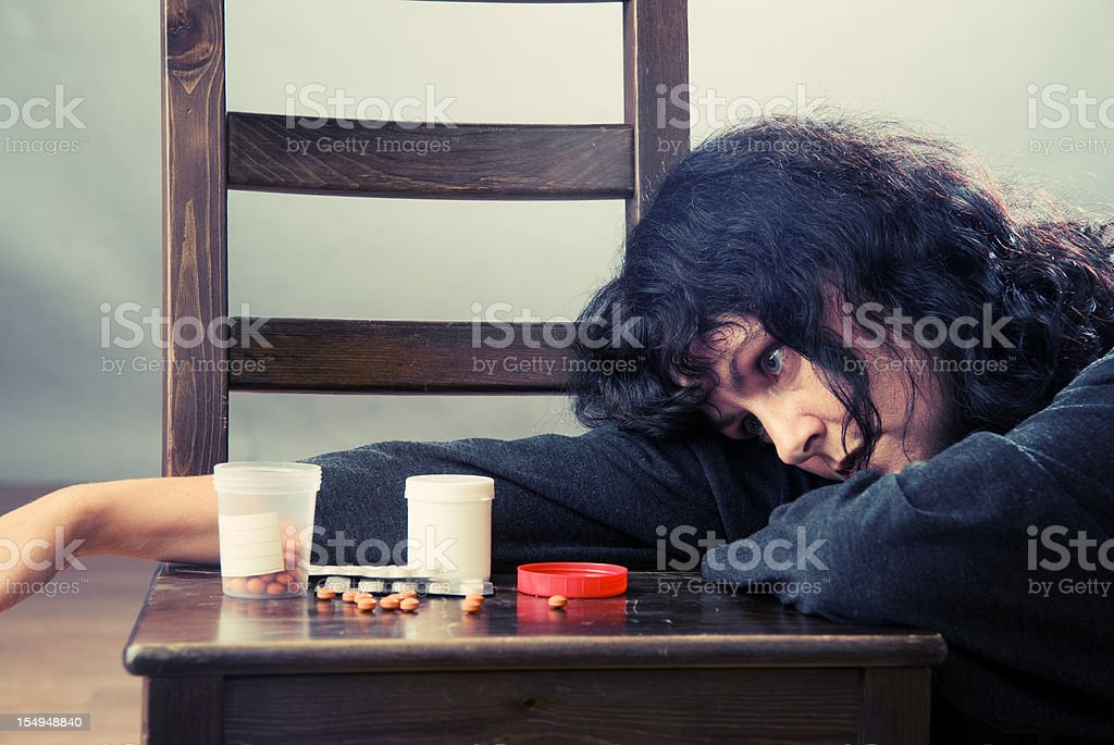 Woman at depression stock photo