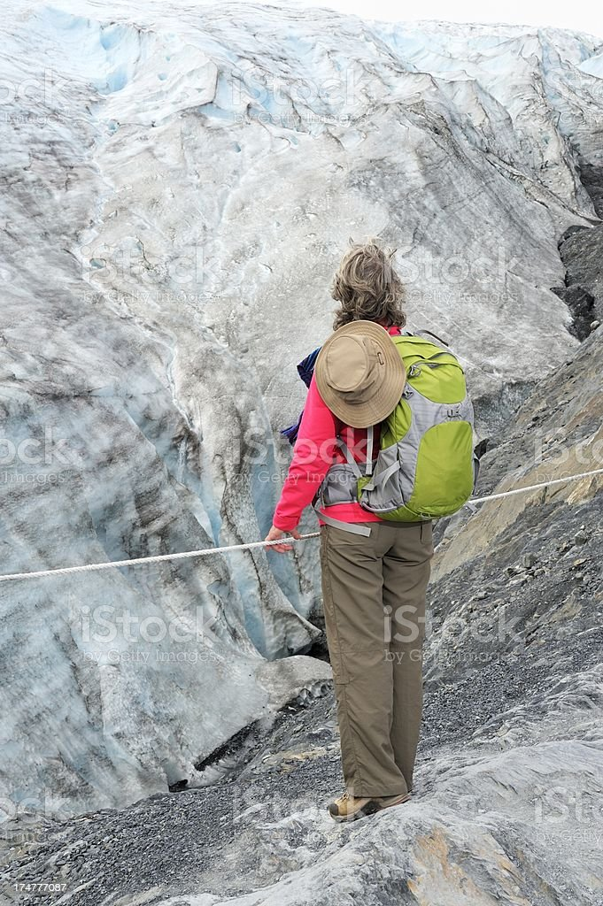 Woman at glacier royalty-free stock photo