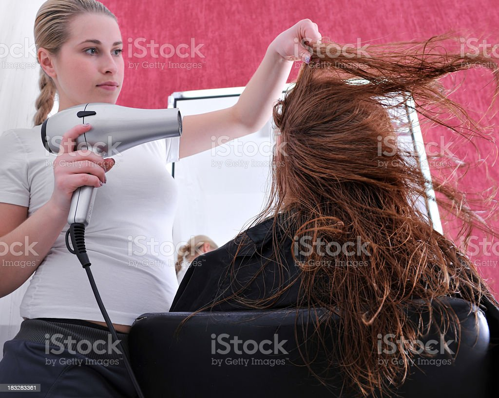 woman at hairdresser royalty-free stock photo