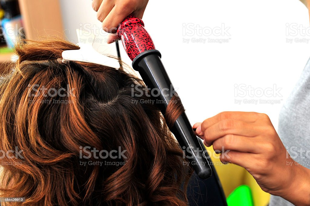 woman at hairdresser stock photo