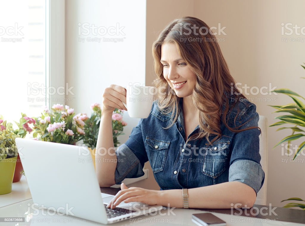 woman at home stock photo