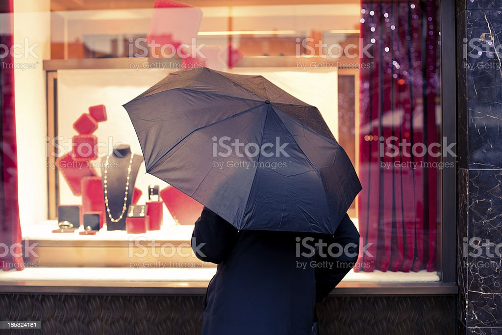 Woman at Jewels Store in Paris royalty-free stock photo