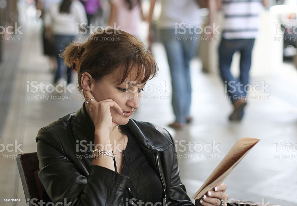 Woman at lunch royalty-free stock photo