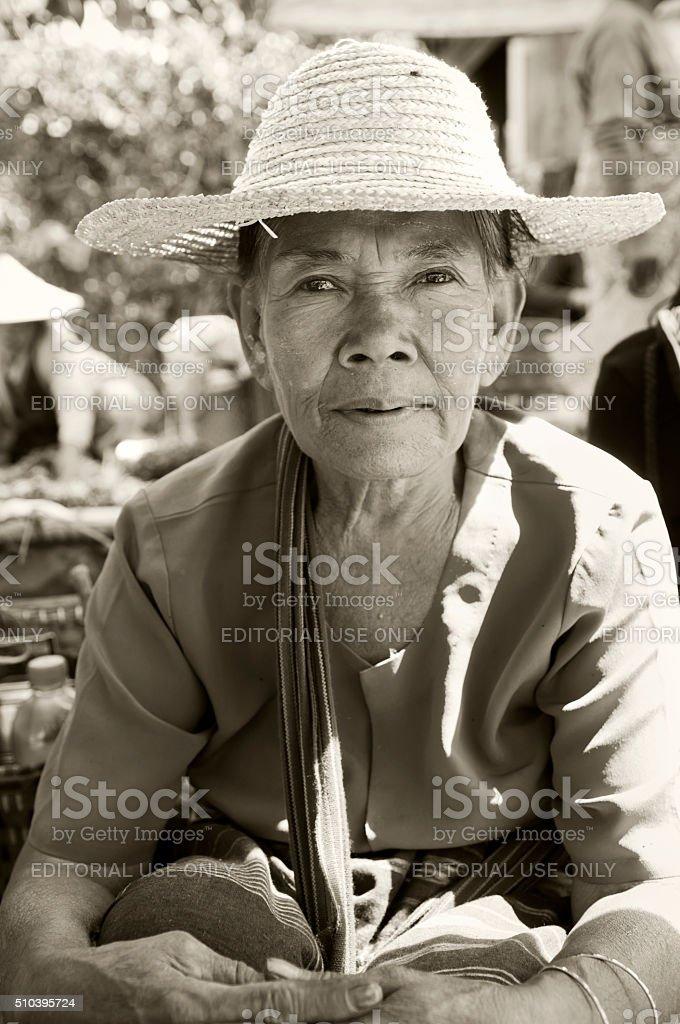 Woman at market in Kalaw, Myanmar stock photo