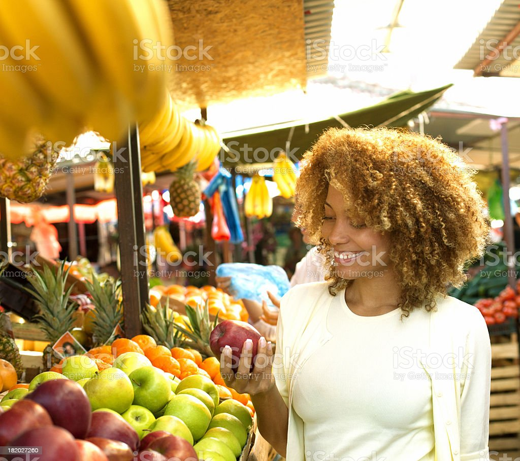 Woman at market. stock photo