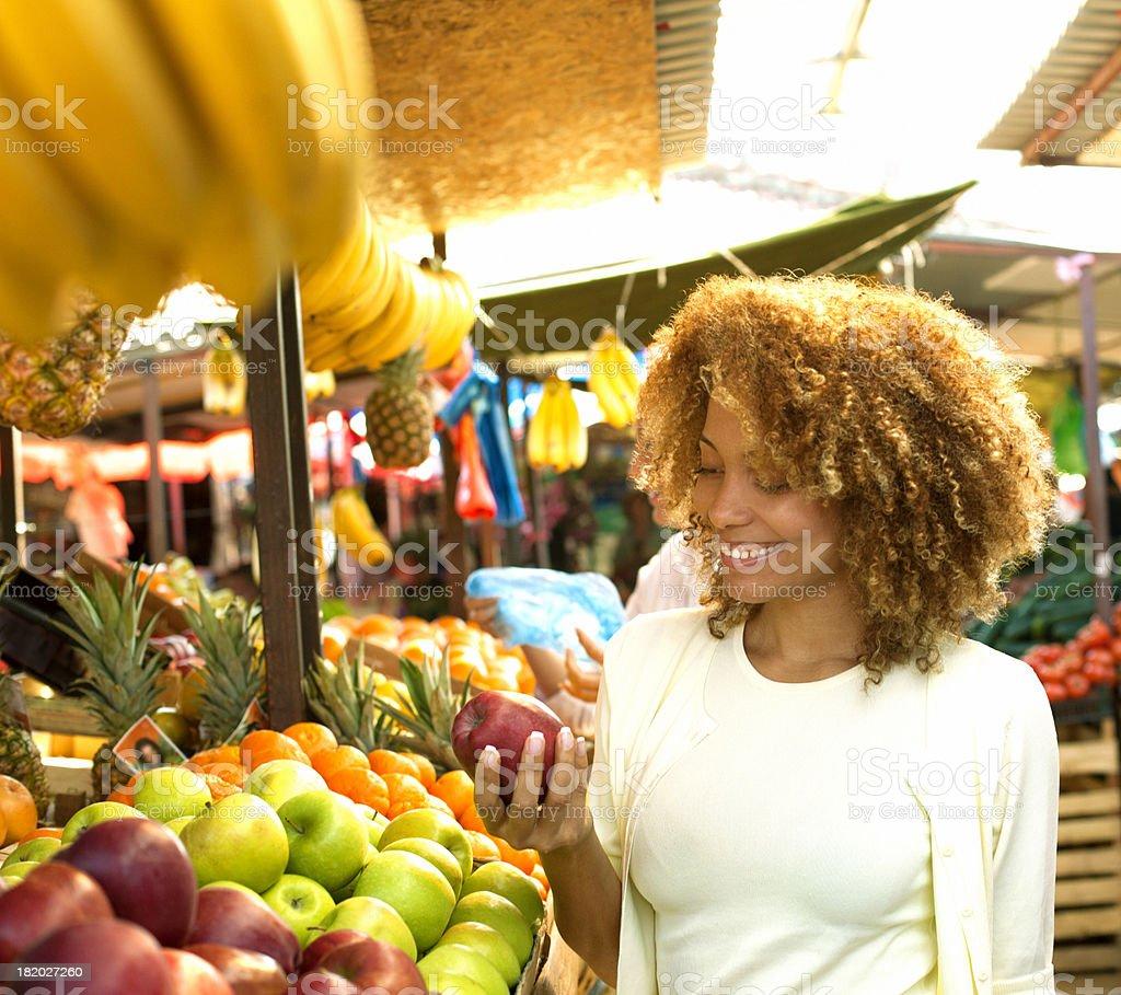 Woman at market. stock photo