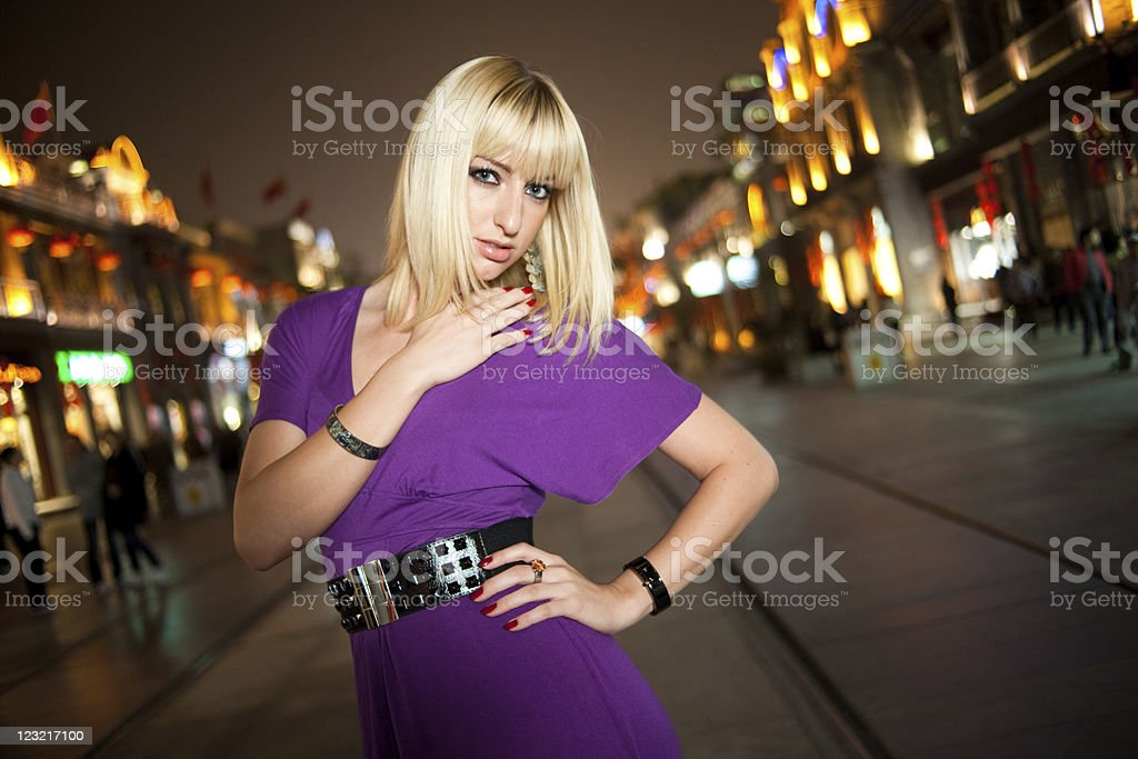Woman at night stock photo