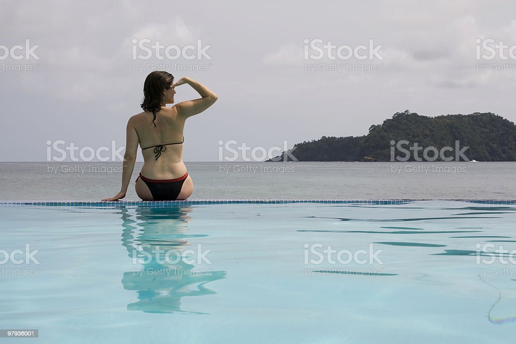 Woman at paradise royalty-free stock photo