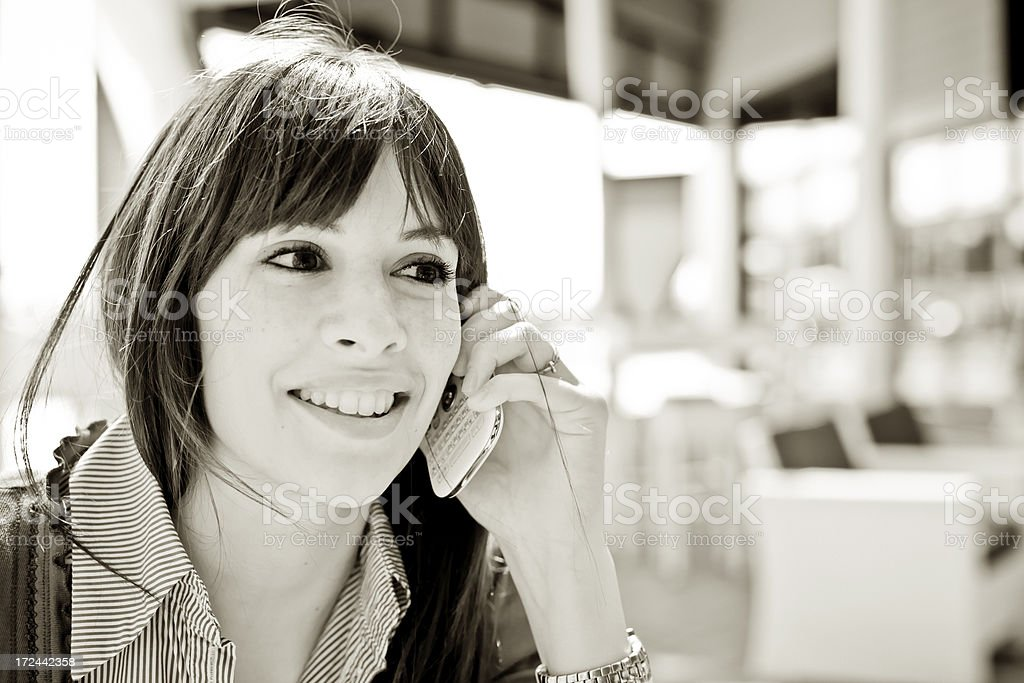 Woman at phone royalty-free stock photo