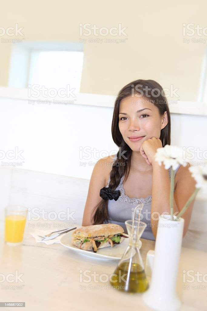 Woman at restaurant for lunch royalty-free stock photo