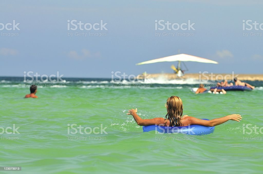 Woman at sea stock photo