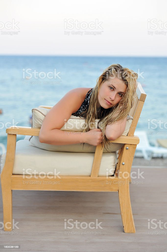 woman at seaside stock photo