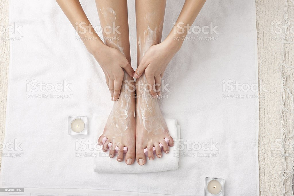 woman at spa - legs detail stock photo