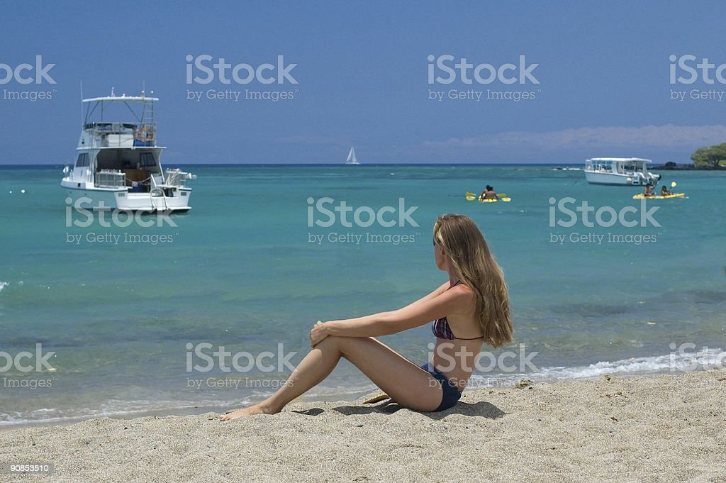 Woman at the beach royalty-free stock photo
