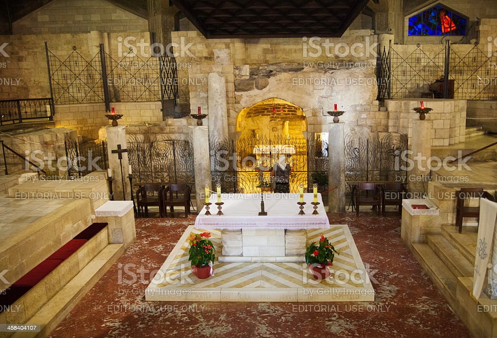 Woman at The Church of Annunciation, Nazareth royalty-free stock photo