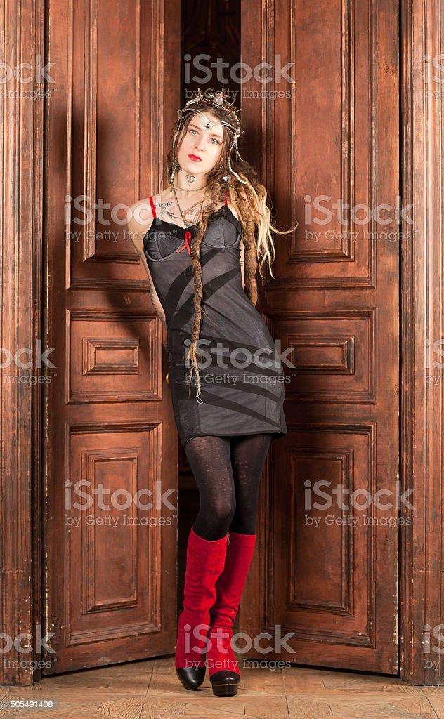 Woman at the door stock photo