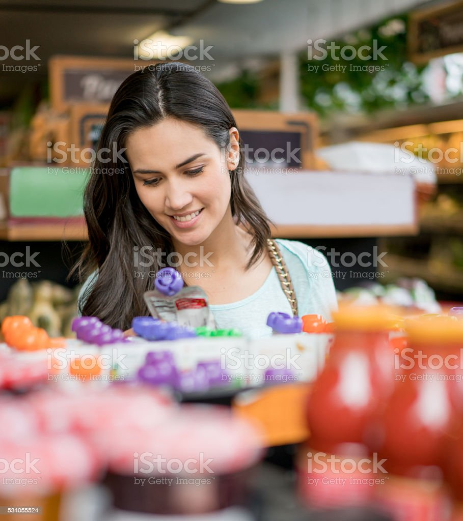 Woman at the food market stock photo