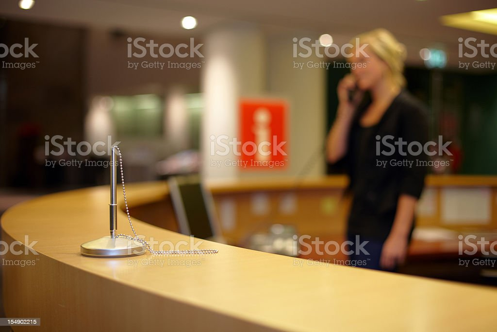Woman at the information point royalty-free stock photo