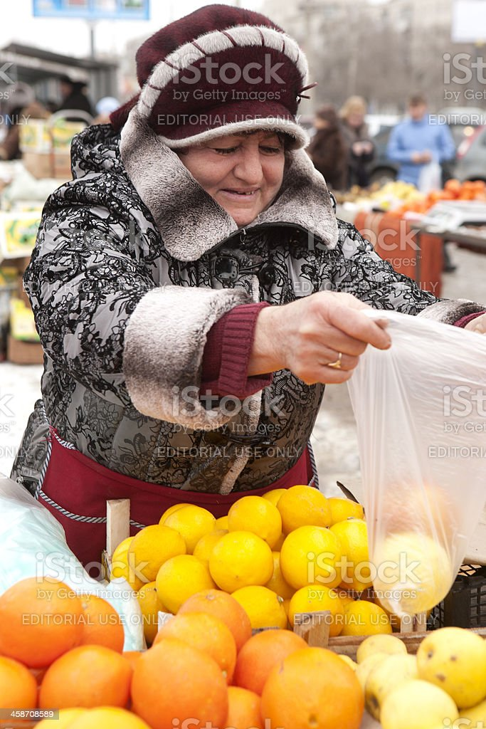woman at the market stock photo
