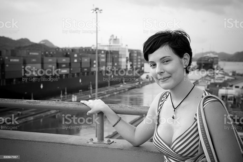 Woman at the Miraflores Locks viewpoint - Panama Canal stock photo