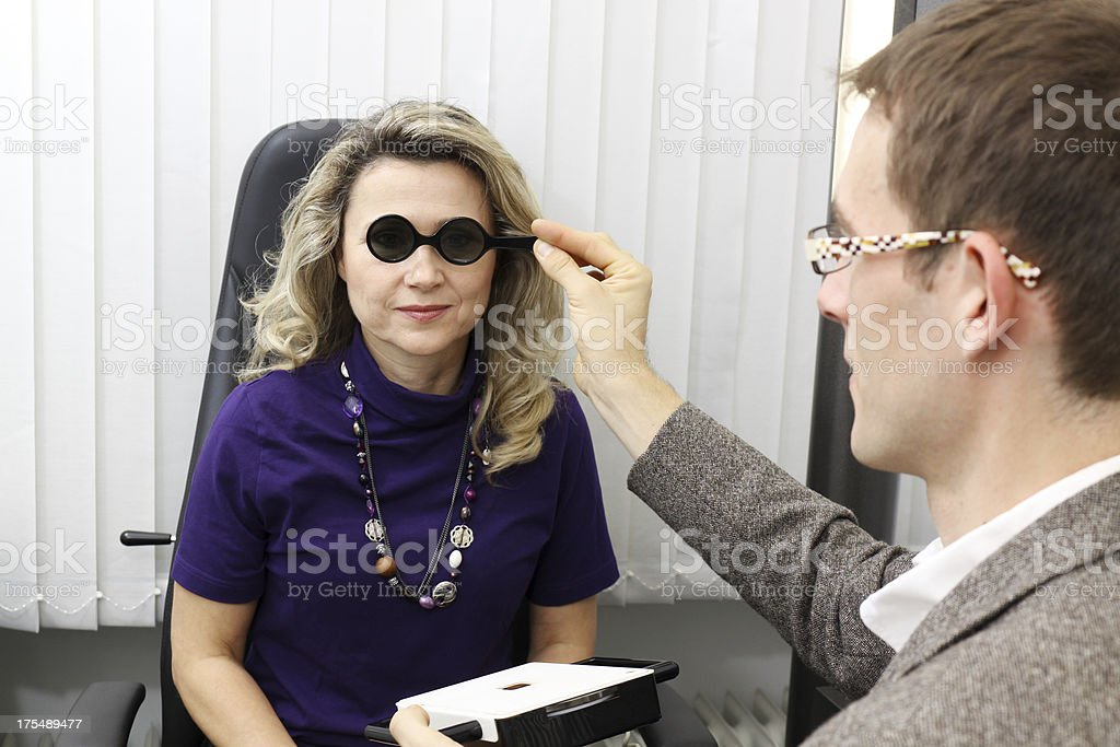 woman at the optician stock photo