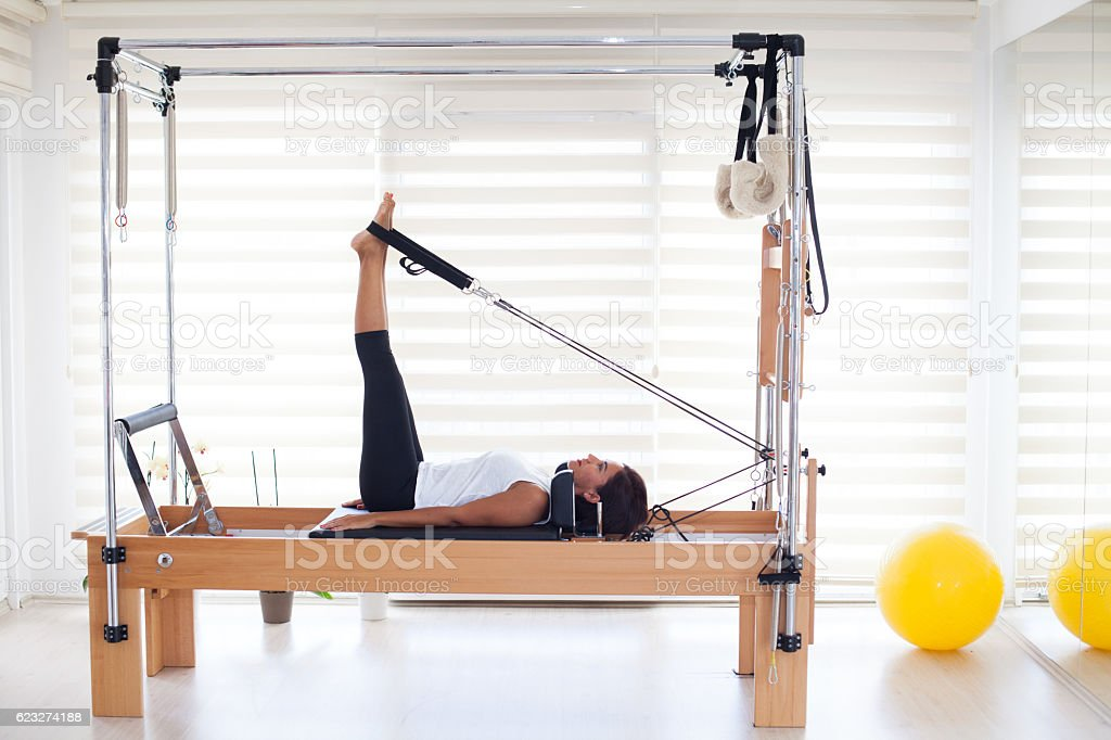 Woman at the Pilates class stock photo