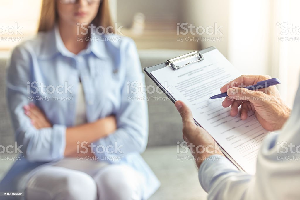 Woman at the psychotherapist stock photo
