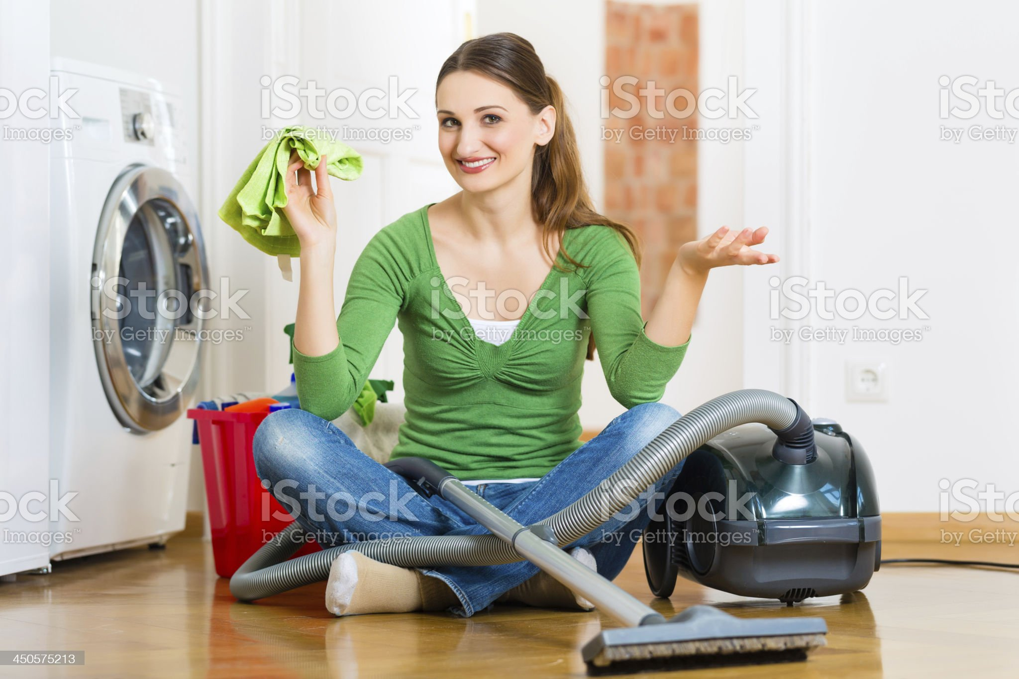 Woman at the spring cleaning royalty-free stock photo