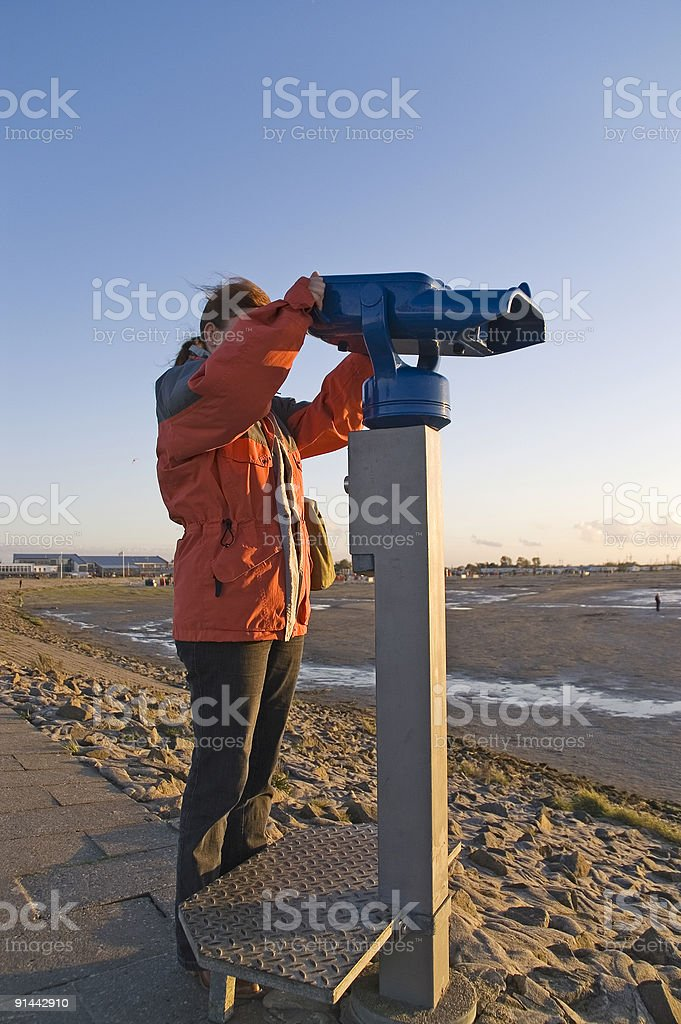 woman at the telescope 1 stock photo