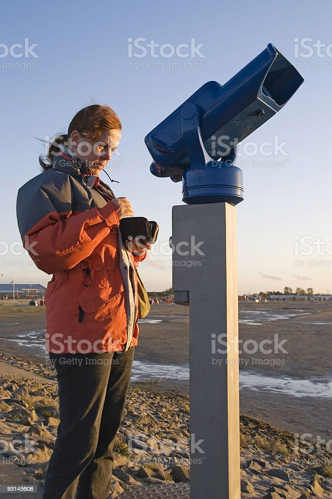 woman at the telescope 2 stock photo