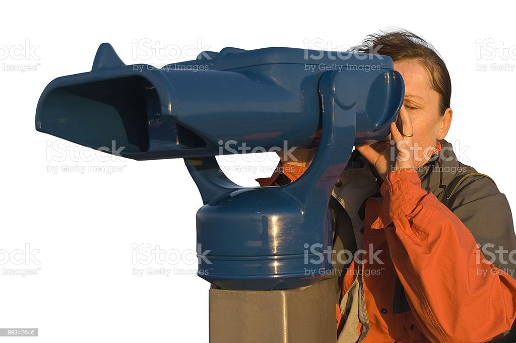 woman at the telescope 4 isolated stock photo