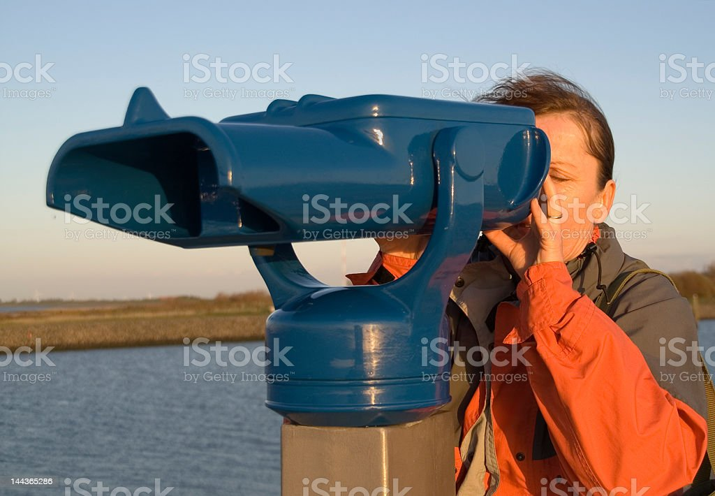 woman at the telescope 4 stock photo