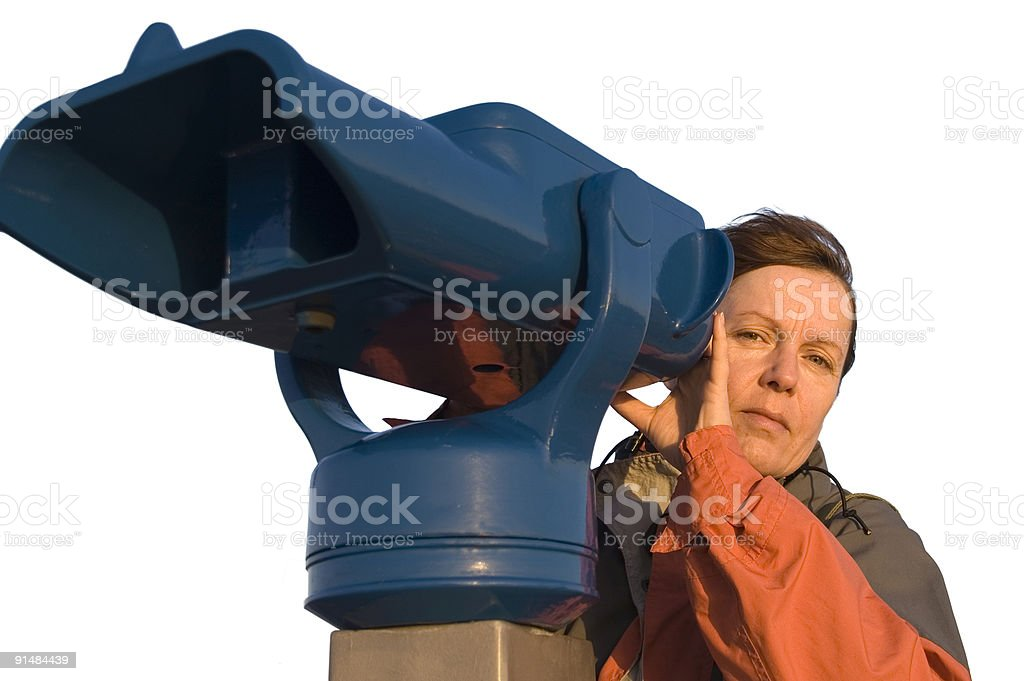 woman at the telescope 5 iso stock photo