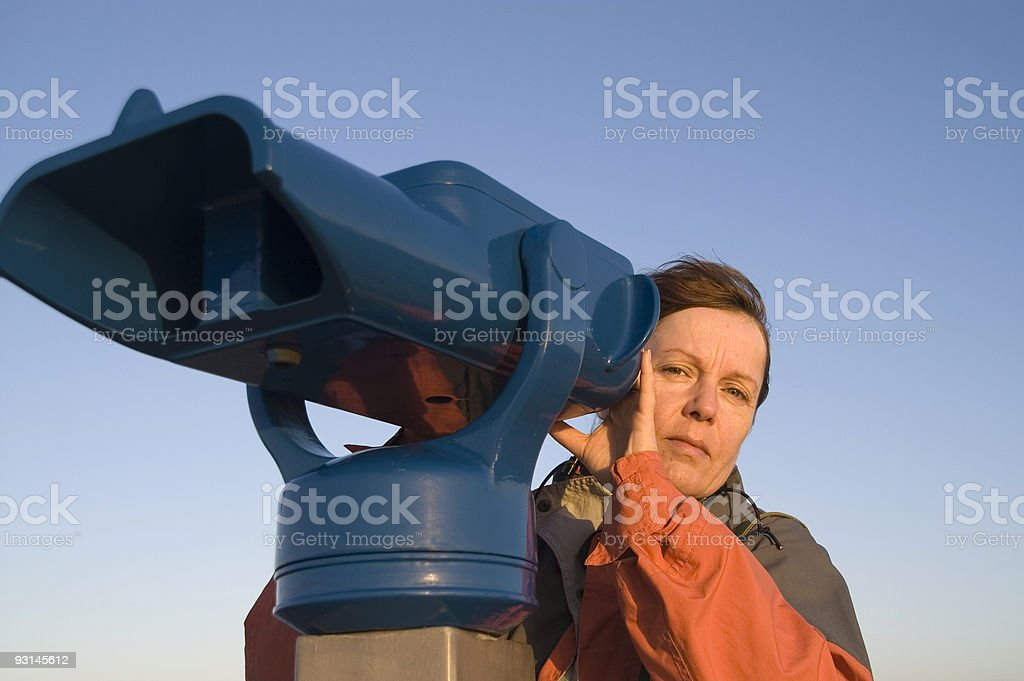 woman at the telescope 5 stock photo