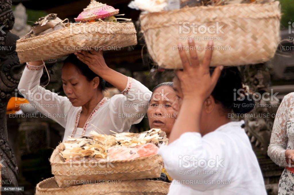 Woman at Tirta Empul Tempel Bali stock photo